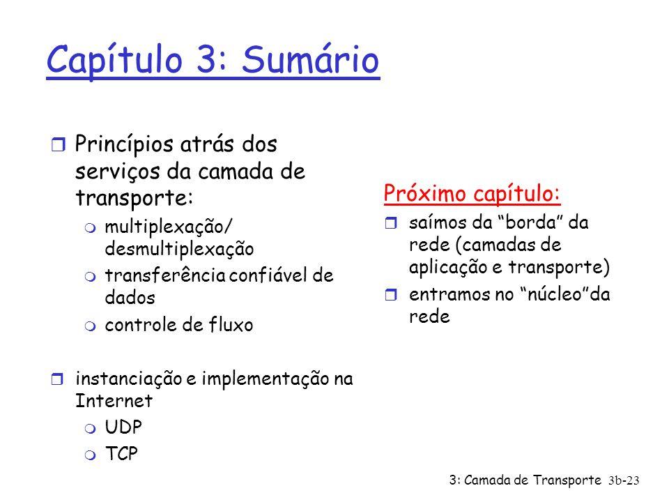 Capítulo 3: Sumário Princípios atrás dos serviços da camada de transporte: multiplexação/ desmultiplexação.