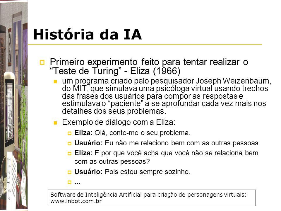 História da IA Primeiro experimento feito para tentar realizar o Teste de Turing - Eliza (1966)