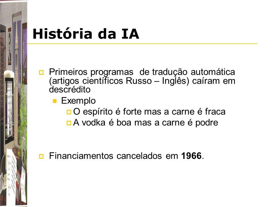 História da IA Primeiros programas de tradução automática (artigos científicos Russo – Inglês) caíram em descrédito.