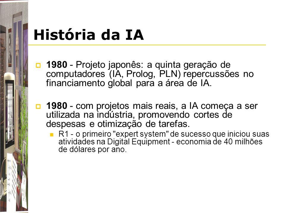 História da IA 1980 - Projeto japonês: a quinta geração de computadores (IA, Prolog, PLN) repercussões no financiamento global para a área de IA.