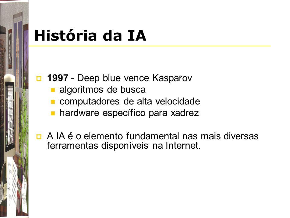 História da IA 1997 - Deep blue vence Kasparov algoritmos de busca