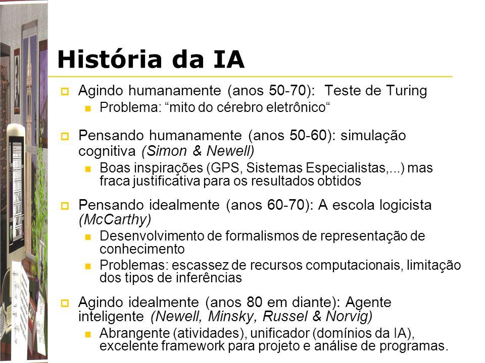 História da IA Agindo humanamente (anos 50-70): Teste de Turing