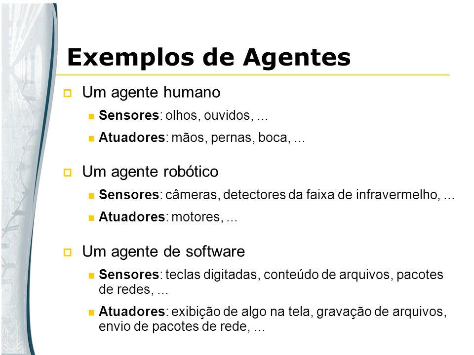 Exemplos de Agentes Um agente humano Um agente robótico