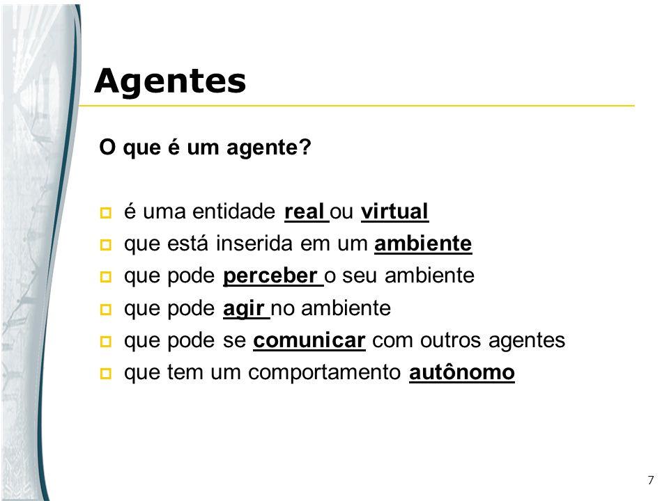Agentes O que é um agente é uma entidade real ou virtual