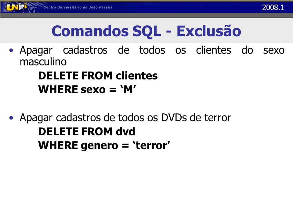 Comandos SQL - Exclusão