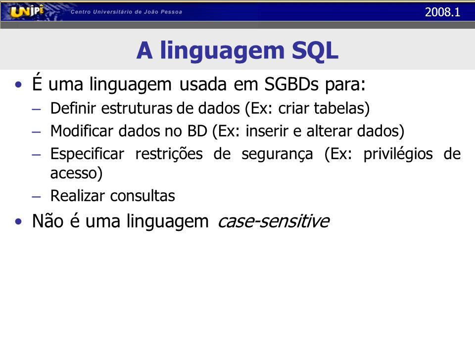A linguagem SQL É uma linguagem usada em SGBDs para: