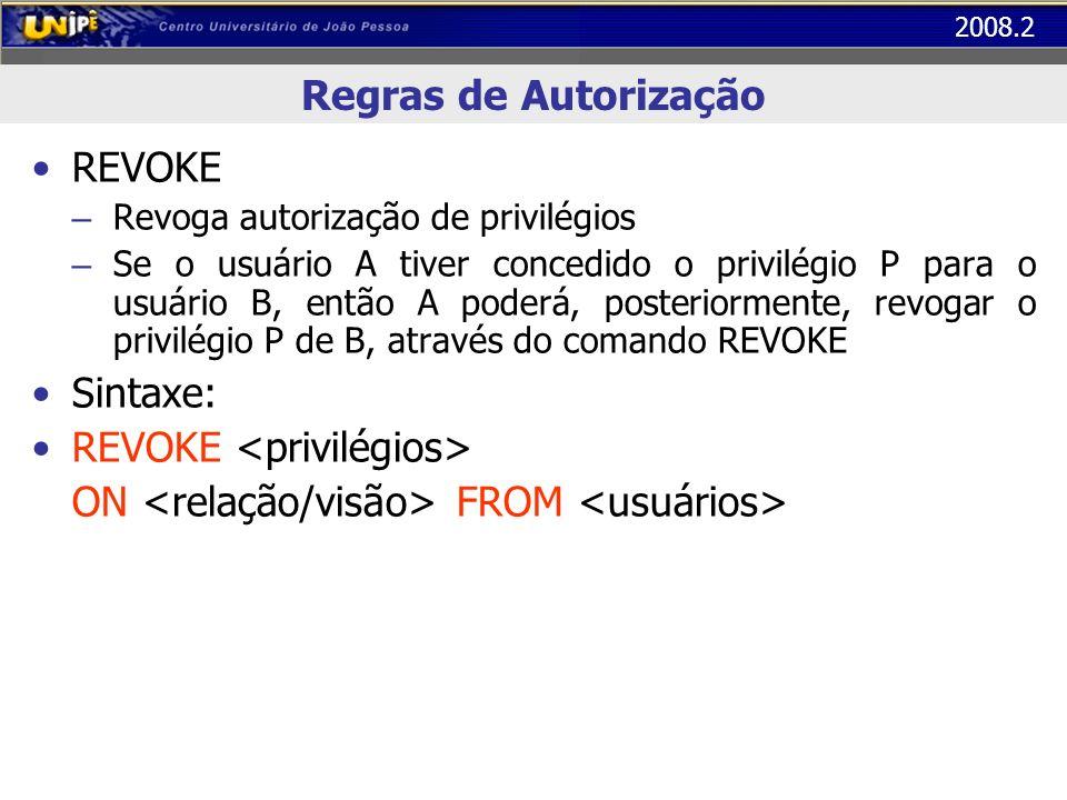 REVOKE <privilégios>