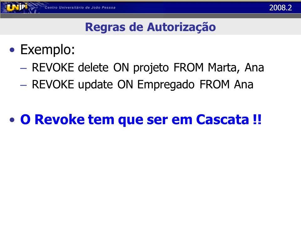 O Revoke tem que ser em Cascata !!