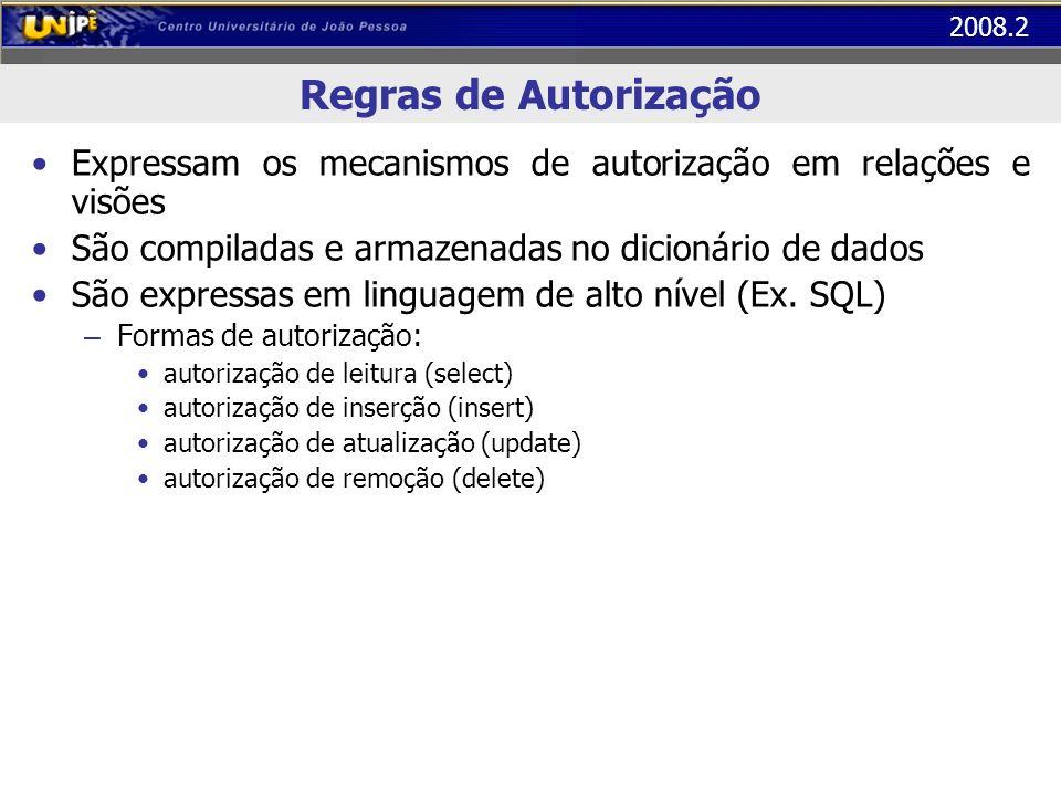 Regras de Autorização Expressam os mecanismos de autorização em relações e visões. São compiladas e armazenadas no dicionário de dados.