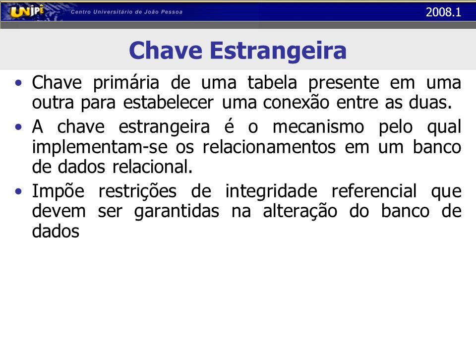 Chave Estrangeira Chave primária de uma tabela presente em uma outra para estabelecer uma conexão entre as duas.