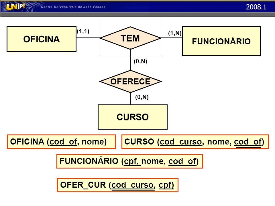 OFICINA TEM CURSO FUNCIONÁRIO OFERECE OFICINA (cod_of, nome)