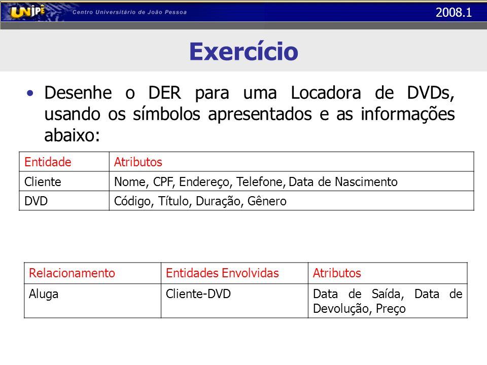 Exercício Desenhe o DER para uma Locadora de DVDs, usando os símbolos apresentados e as informações abaixo: