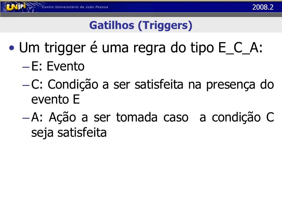 Um trigger é uma regra do tipo E_C_A: