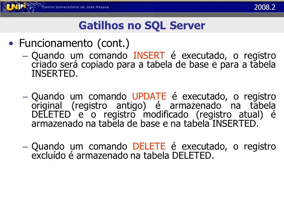 Gatilhos no SQL Server Funcionamento (cont.)
