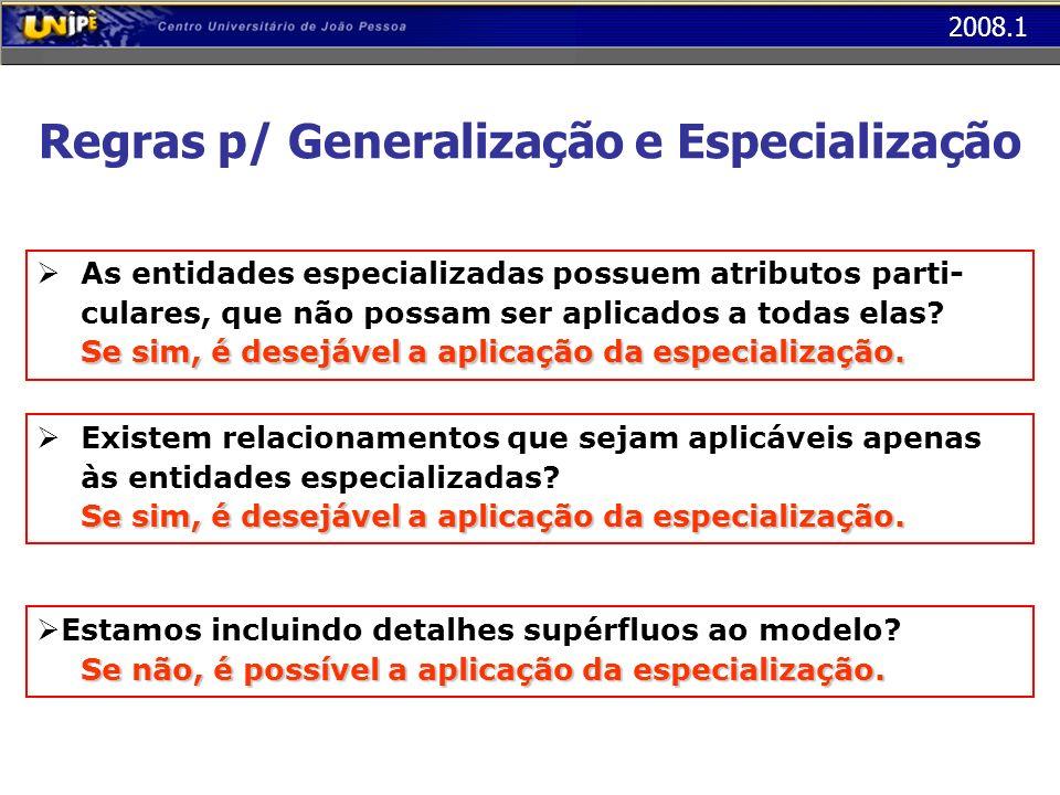 Regras p/ Generalização e Especialização