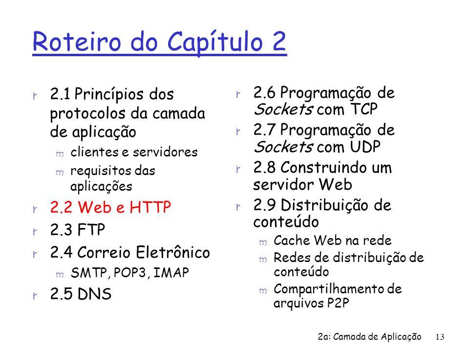 Roteiro do Capítulo 22.1 Princípios dos protocolos da camada de aplicação. clientes e servidores. requisitos das aplicações.