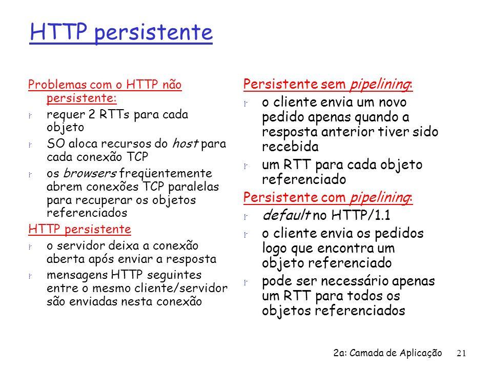 HTTP persistente Persistente sem pipelining: