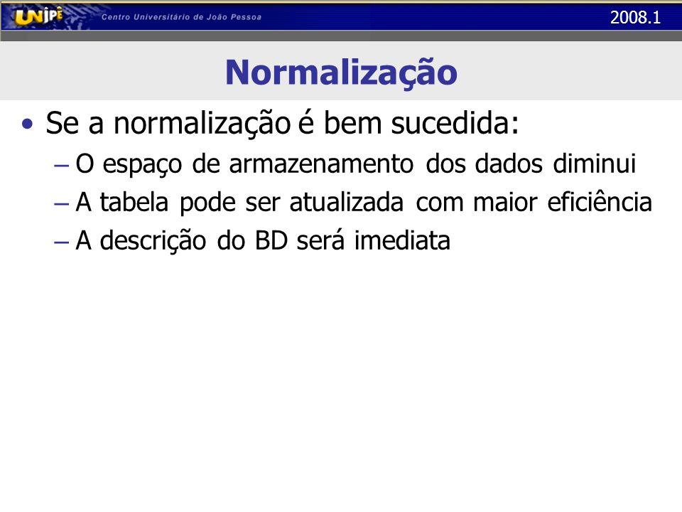 Normalização Se a normalização é bem sucedida:
