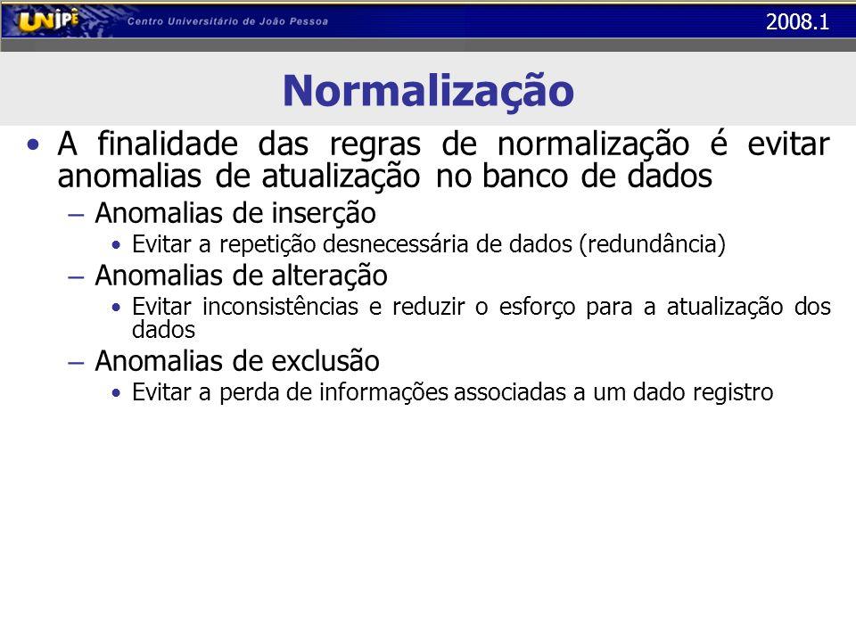 Normalização A finalidade das regras de normalização é evitar anomalias de atualização no banco de dados.