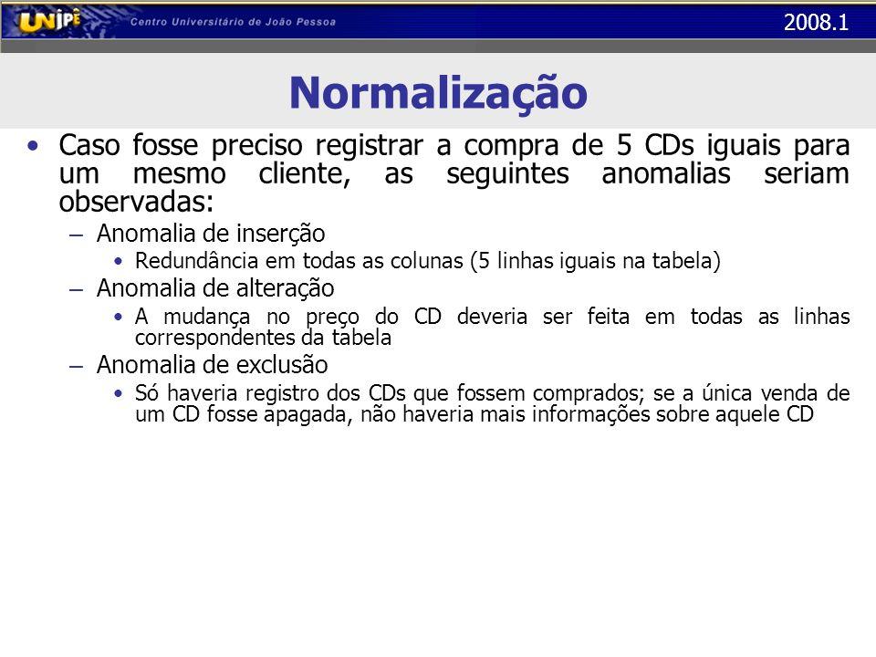 Normalização Caso fosse preciso registrar a compra de 5 CDs iguais para um mesmo cliente, as seguintes anomalias seriam observadas: