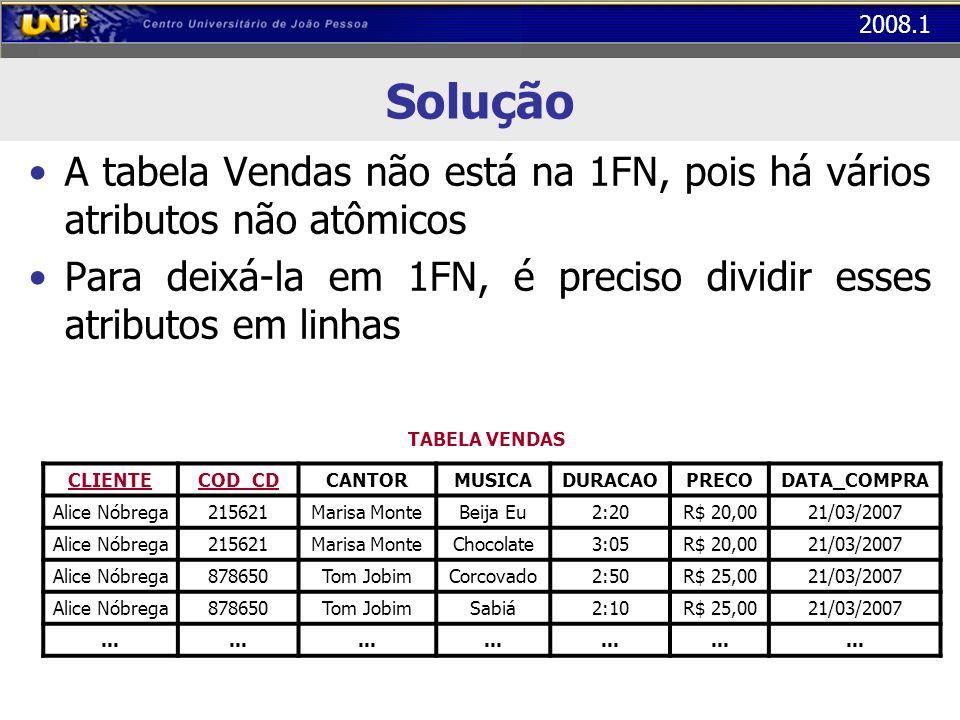 Solução A tabela Vendas não está na 1FN, pois há vários atributos não atômicos. Para deixá-la em 1FN, é preciso dividir esses atributos em linhas.