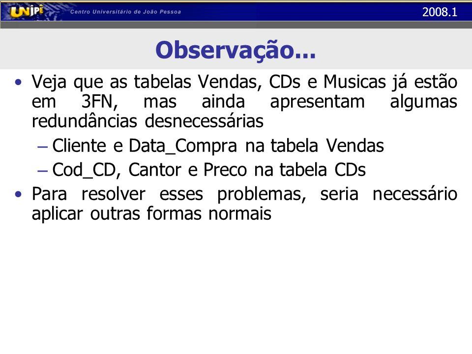 Observação... Veja que as tabelas Vendas, CDs e Musicas já estão em 3FN, mas ainda apresentam algumas redundâncias desnecessárias.