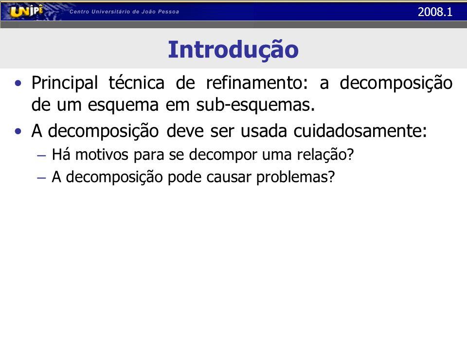 Introdução Principal técnica de refinamento: a decomposição de um esquema em sub-esquemas. A decomposição deve ser usada cuidadosamente: