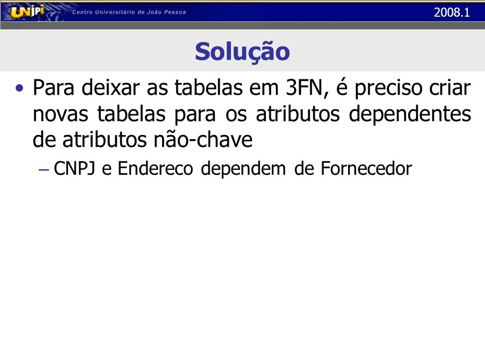Solução Para deixar as tabelas em 3FN, é preciso criar novas tabelas para os atributos dependentes de atributos não-chave.