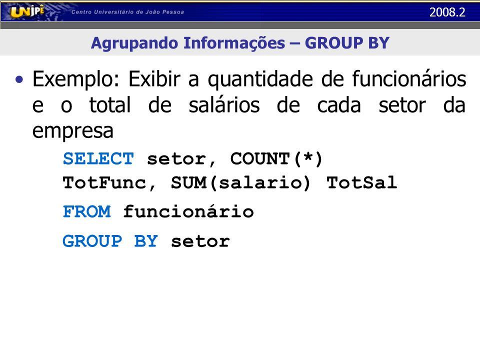 Agrupando Informações – GROUP BY