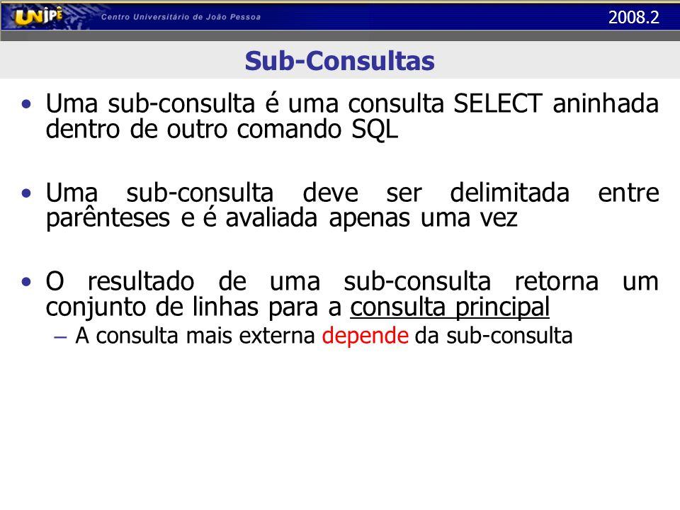 Sub-Consultas Uma sub-consulta é uma consulta SELECT aninhada dentro de outro comando SQL.