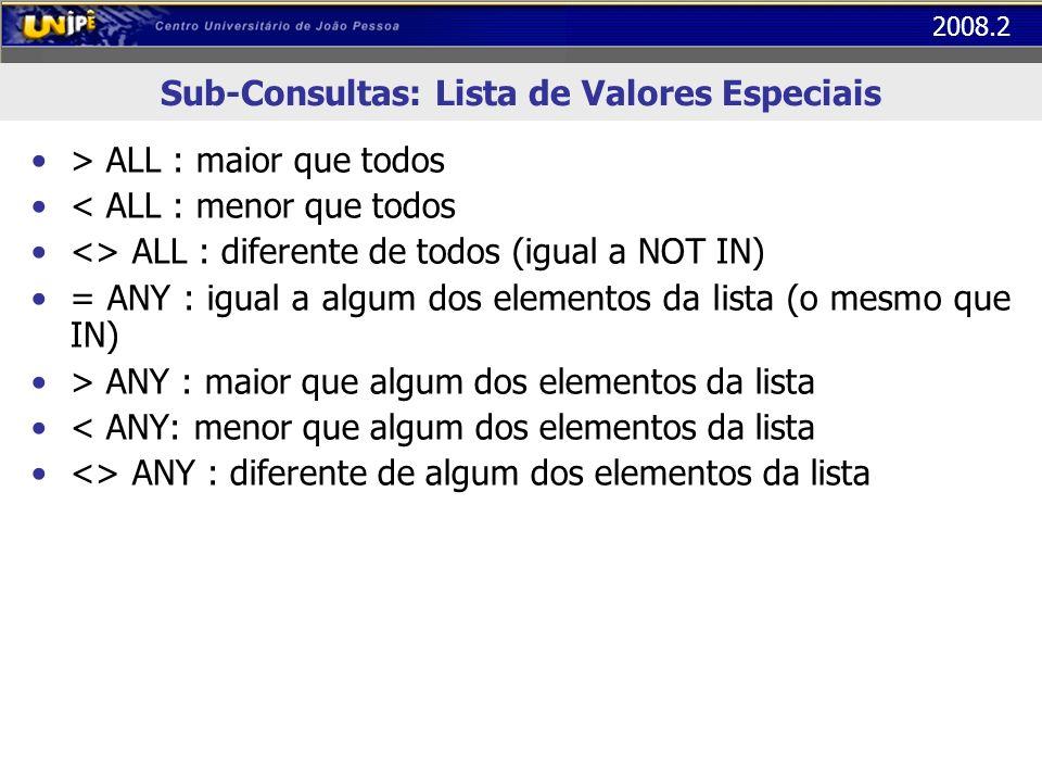 Sub-Consultas: Lista de Valores Especiais