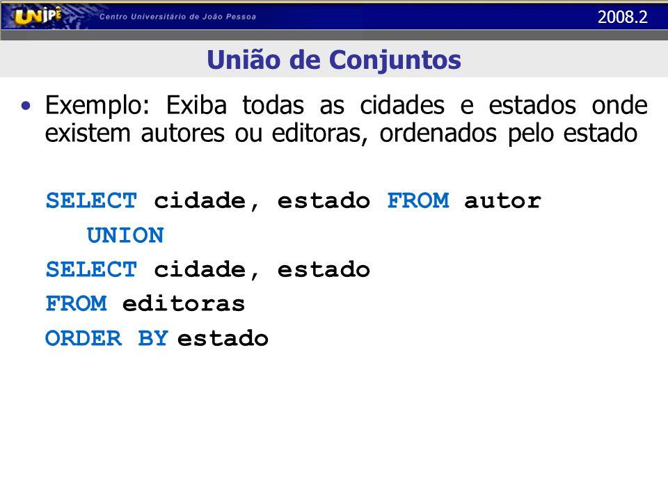 União de ConjuntosExemplo: Exiba todas as cidades e estados onde existem autores ou editoras, ordenados pelo estado.