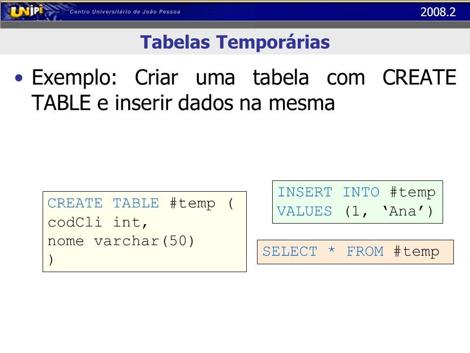 Exemplo: Criar uma tabela com CREATE TABLE e inserir dados na mesma