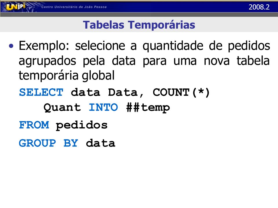 SELECT data Data, COUNT(*) Quant INTO ##temp FROM pedidos