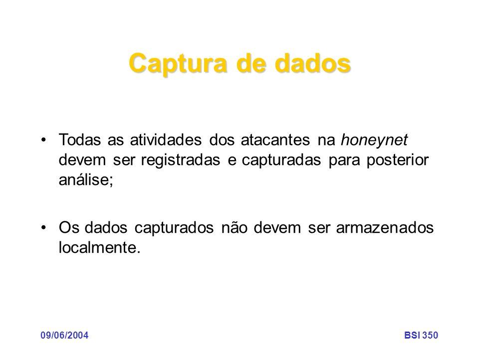 Captura de dados Todas as atividades dos atacantes na honeynet devem ser registradas e capturadas para posterior análise;