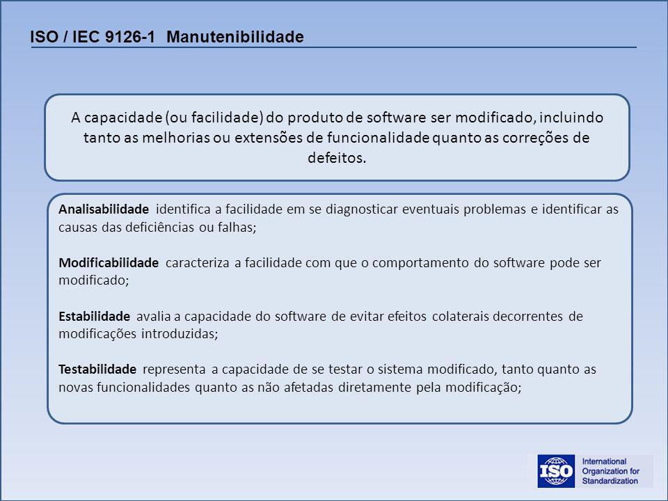 ISO / IEC 9126-1 Manutenibilidade