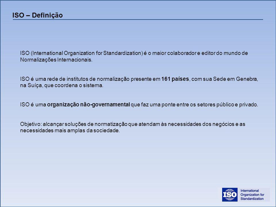 ISO – Definição ISO (International Organization for Standardization) é o maior colaborador e editor do mundo de Normalizações Internacionais.