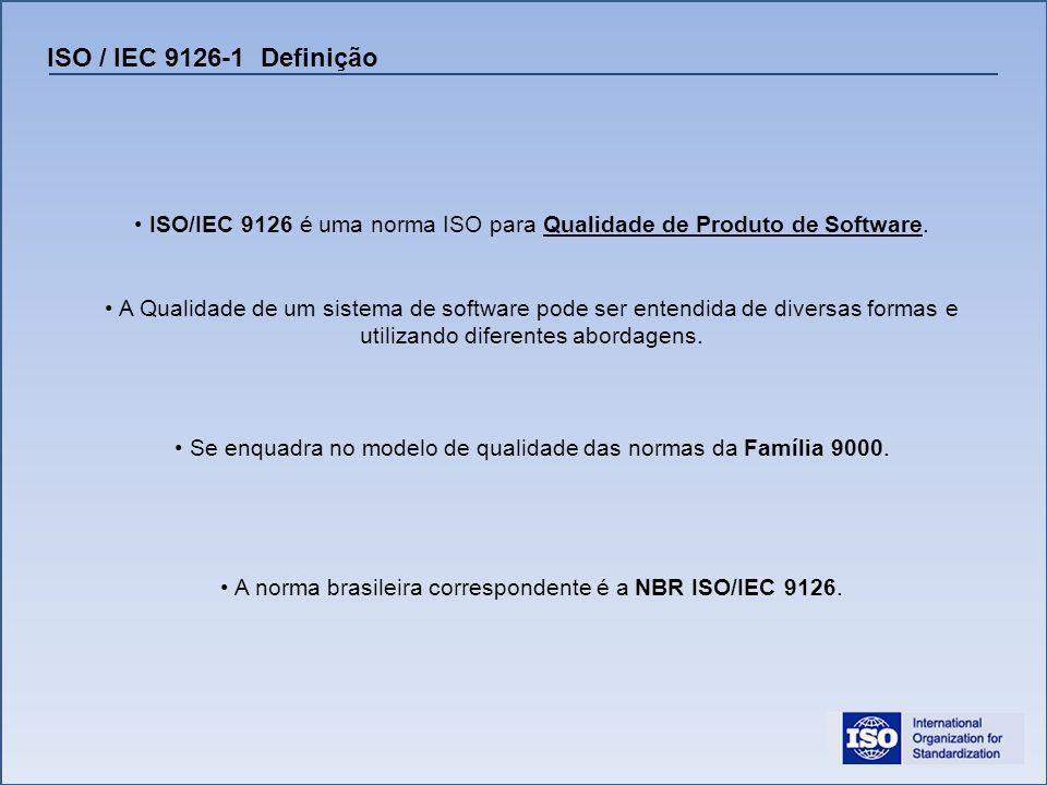 ISO / IEC 9126-1 Definição ISO/IEC 9126 é uma norma ISO para Qualidade de Produto de Software.