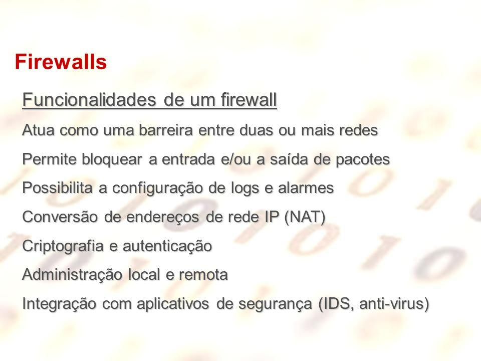 Firewalls Funcionalidades de um firewall