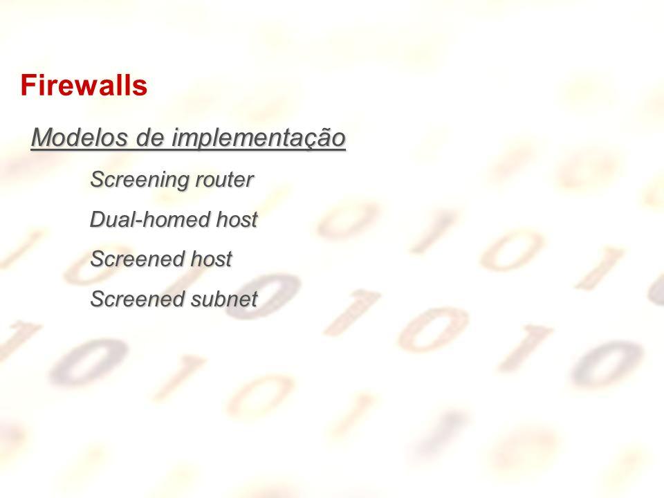 Firewalls Modelos de implementação Screening router Dual-homed host
