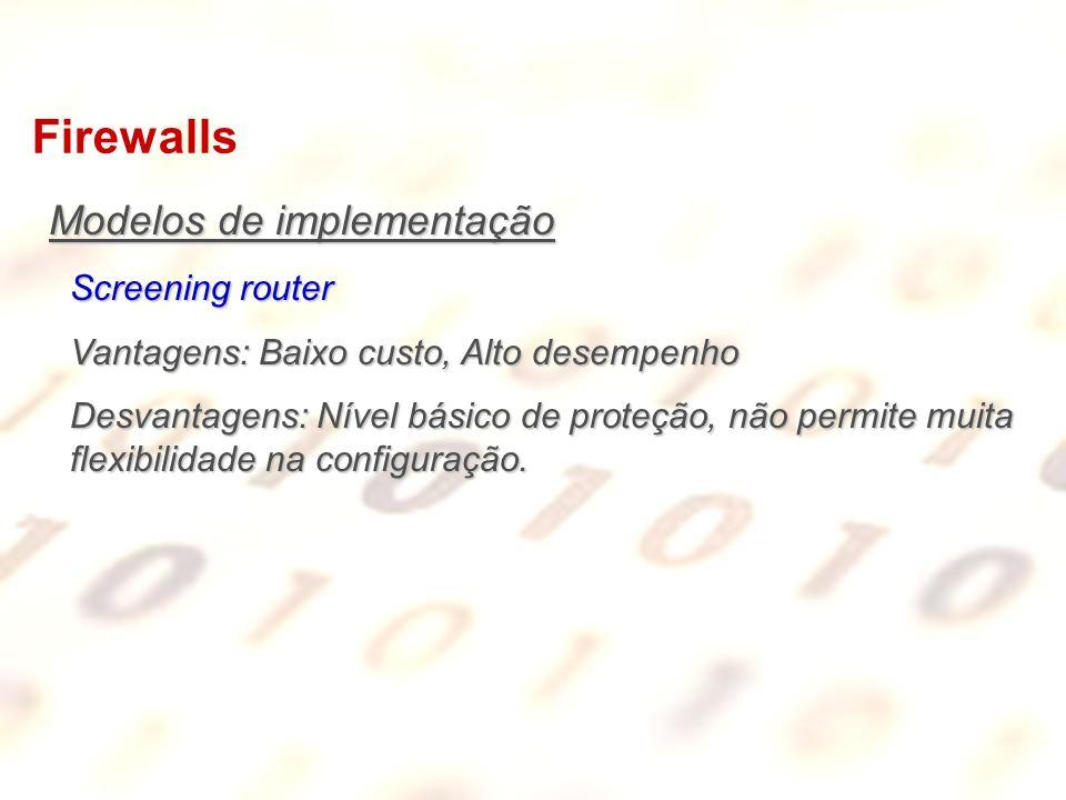 Firewalls Modelos de implementação Screening router