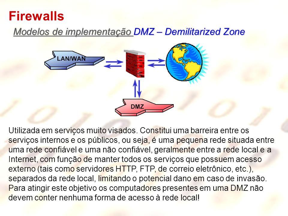 Firewalls Modelos de implementação DMZ – Demilitarized Zone