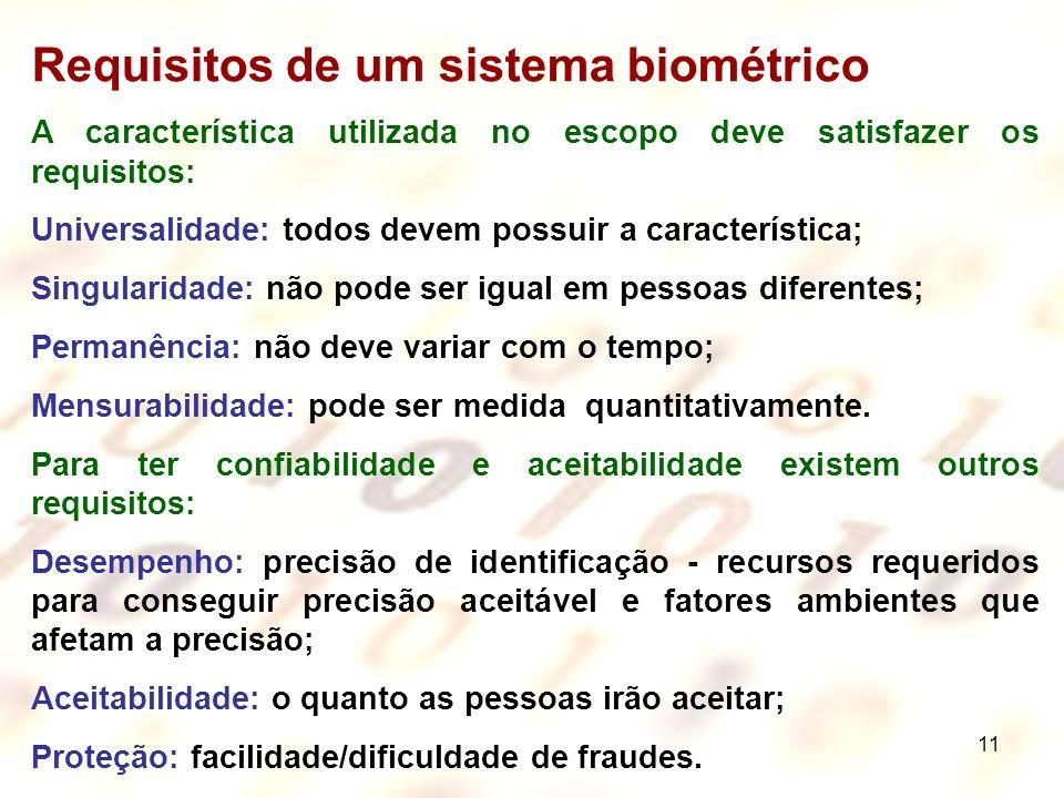 Requisitos de um sistema biométrico