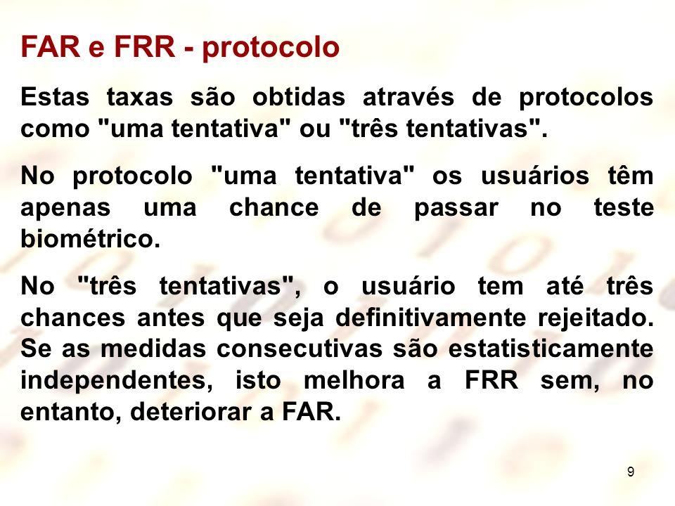FAR e FRR - protocolo Estas taxas são obtidas através de protocolos como uma tentativa ou três tentativas .