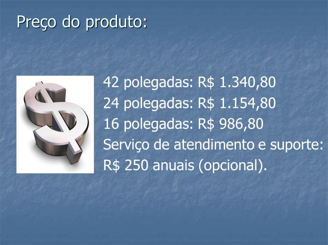 Preço do produto: 42 polegadas: R$ 1.340,80 24 polegadas: R$ 1.154,80
