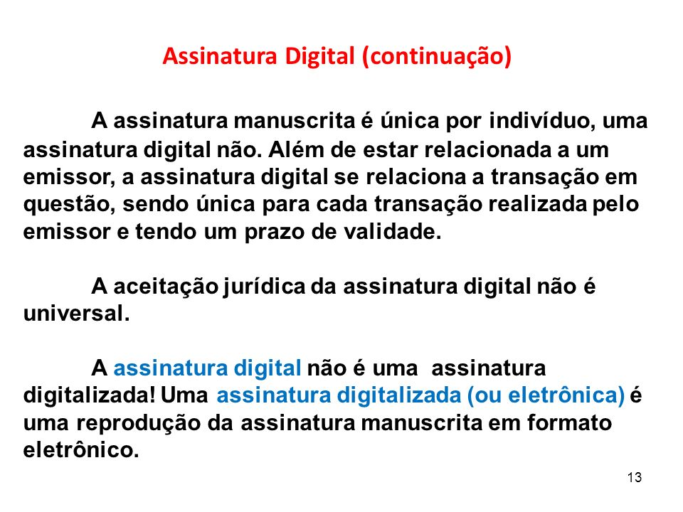 Assinatura Digital (continuação)