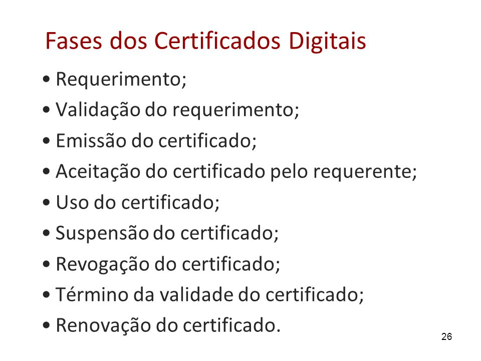 Fases dos Certificados Digitais