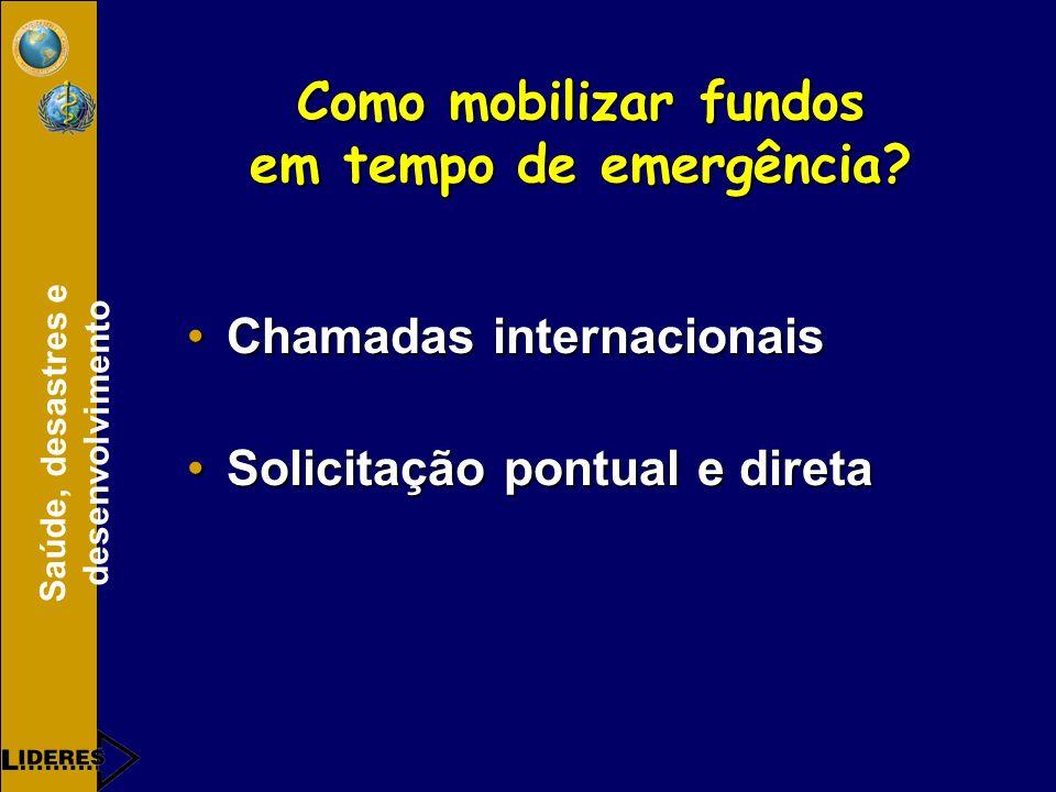 Como mobilizar fundos em tempo de emergência