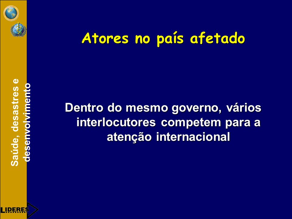 Atores no país afetado Dentro do mesmo governo, vários interlocutores competem para a atenção internacional.