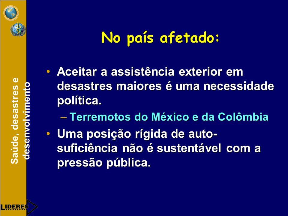 No país afetado: Aceitar a assistência exterior em desastres maiores é uma necessidade política. Terremotos do México e da Colômbia.